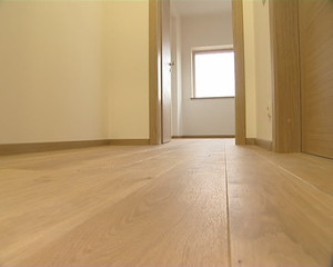 Newly installed living house floor details. Floorboard hardwood.