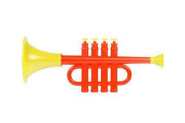 Children trumpet made of colored plastic