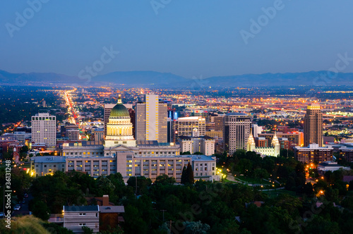 Salt Lake City, Utah at night