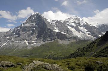 Jungfrau and Monch above Mannlichen footpath