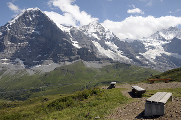 Jungfrau and Monch above Mannlichen footpath