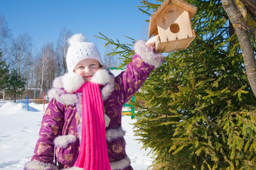 little girl in winter park
