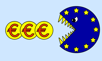 Caricature Euro-pacman: monetary crisis in Europe