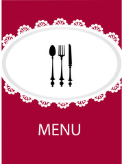 restaurant menu design with table utensil , vector