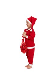 Cute kid dressed as santa