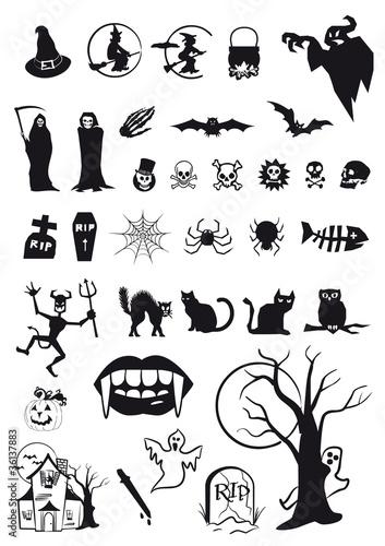 set di icone e simboli per Halloween