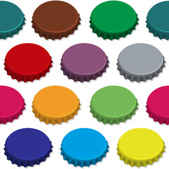 Bottle caps seamless background pattern. Vector.