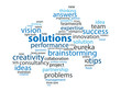SOLUTIONS Tag Cloud (ideas questions and answers jigsaw piece)
