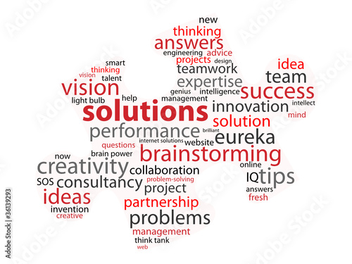SOLUTIONS Tag Cloud (ideas jigsaw piece questions and answers)