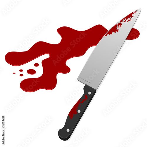 Knife with blood. Vector illustration.