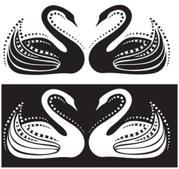 The stylized image of a pair of swans. Ornament