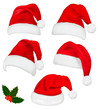 Collection of red santa hats with and Christmas holly. Vector. - 36139810