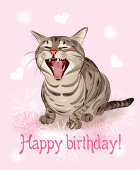 Happy birthday card.   Funny cat sings greeting song. Pink backg
