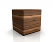 3D Holzwürfel abgerundet - Nuss (Europäisch)