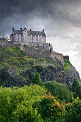 Edinburgh castle overdramatic clouds, Scotland, UK