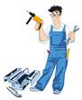 Handwerker mit Wekzeugkasten
