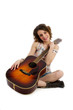 Happy young female with guitar