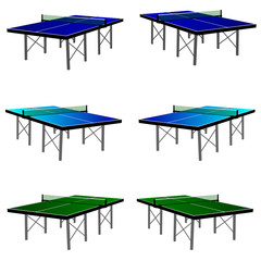 ping pong table in three color
