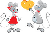 cartoon of a Male Mouse Giving a Female Mouse a Heart