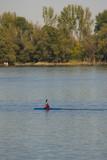 kayak on Danube river,Zemun Belgrade Serbia poster