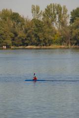kayak on Danube river,Zemun Belgrade Serbia