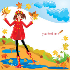 girl dressing coat and rubber boots walks in autumnal park