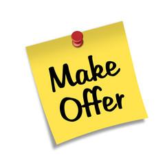Post-it con chincheta texto Make Offer