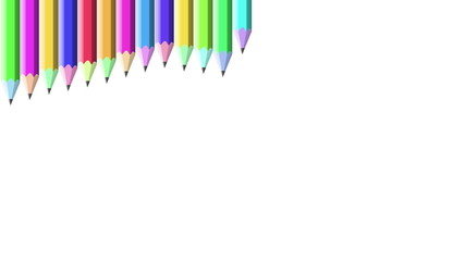 Colorful pencils frame against white