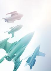 Four Retro style spaceships