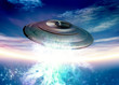 Saucer shape spaceship in earth orbit
