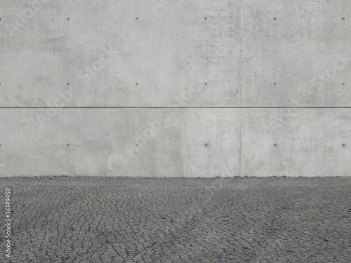 leinwandbild sichtbeton mit pflaster fototapeten. Black Bedroom Furniture Sets. Home Design Ideas