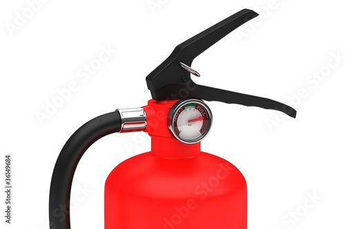 Red fire extinguisher on a white background