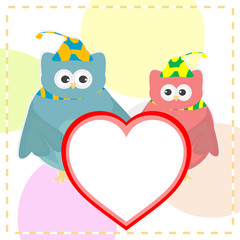 cute vector love owl with heart background