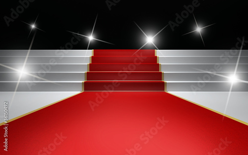 Flashing  lights over the red carpet big party night  awards