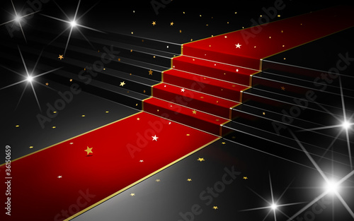 Falling stars on the red carpet with flash lights from cameras