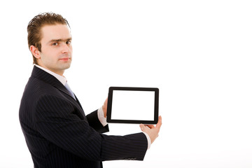 Business man showing tablet computer. Isolated over white backgr