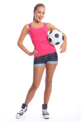 Beautiful soccer player teenage girl with ball