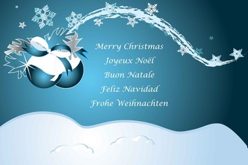 Mehrsprachige Weihnachtswünsche blau
