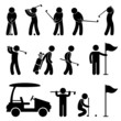 Golf Golfer Swing People Caddy Caddie Pictogram