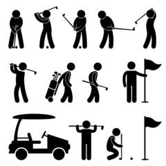 Golf Golfer Swing People Caddy Caddie Pictogram