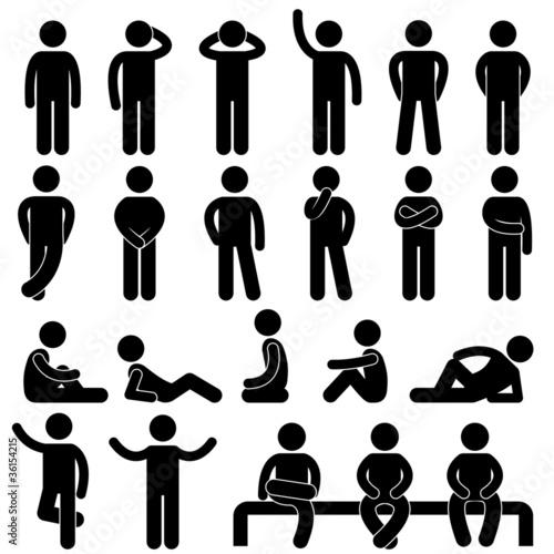 Man Basic Posture People Icon Sign Symbol Pictogram