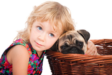isolated portrait of little girl hugging dog on white background