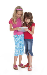 Little Girls Holding Tablet Device
