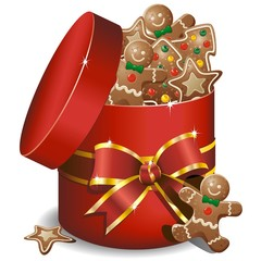 Natale Scatola Biscotti Regalo-Gingerbread Cookies Gift-Vector
