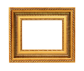 Golden art frame isolated on white background