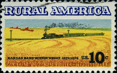 Rural America. Kansas hard winter wheat. US Postage.