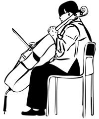a sketch of a woman playing a cello bow