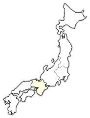 Map of Japan, Kinki highlighted