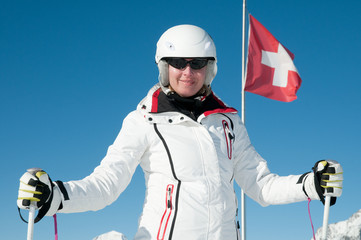 Skiing - portrait of female skier in Swiss Alps