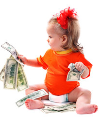 Child with euro money.